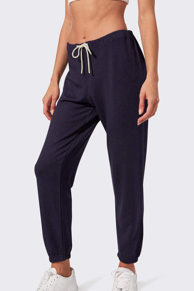 navy fleece jogger with white drawstring