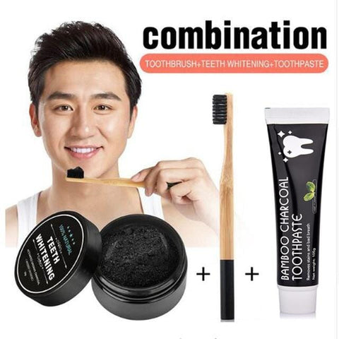 Teeth Whitening Charcoal Powder, Toothbrush & Toothpaste
