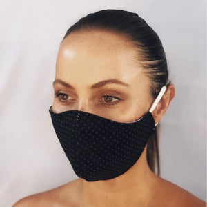 Black Spotted Fabric Mask