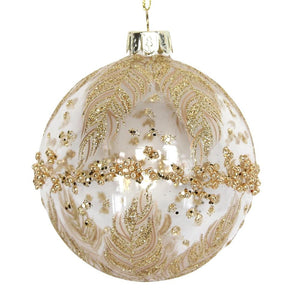 Glass Decorative Bauble- Feathers