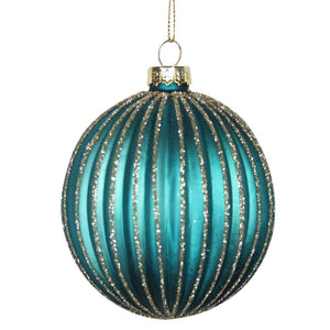Glass Decorative Bauble- Turquoise & Gold