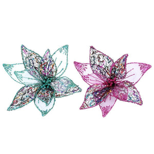 Wire/Mesh Pink/Green Flower Clip-Assorted