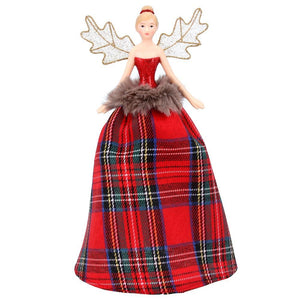 Tartan Resin/Fabric Tree Top Fairy Small