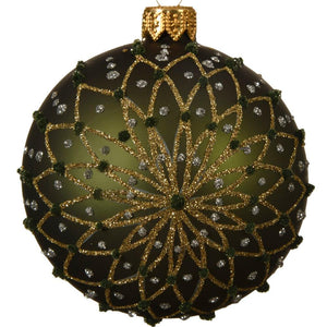 Decorative Bauble- Pine Green, Gold Flower