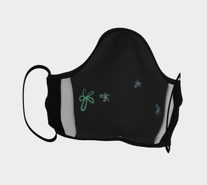 Face Covering - Black - Microtwill - Flower Power 2- Logo