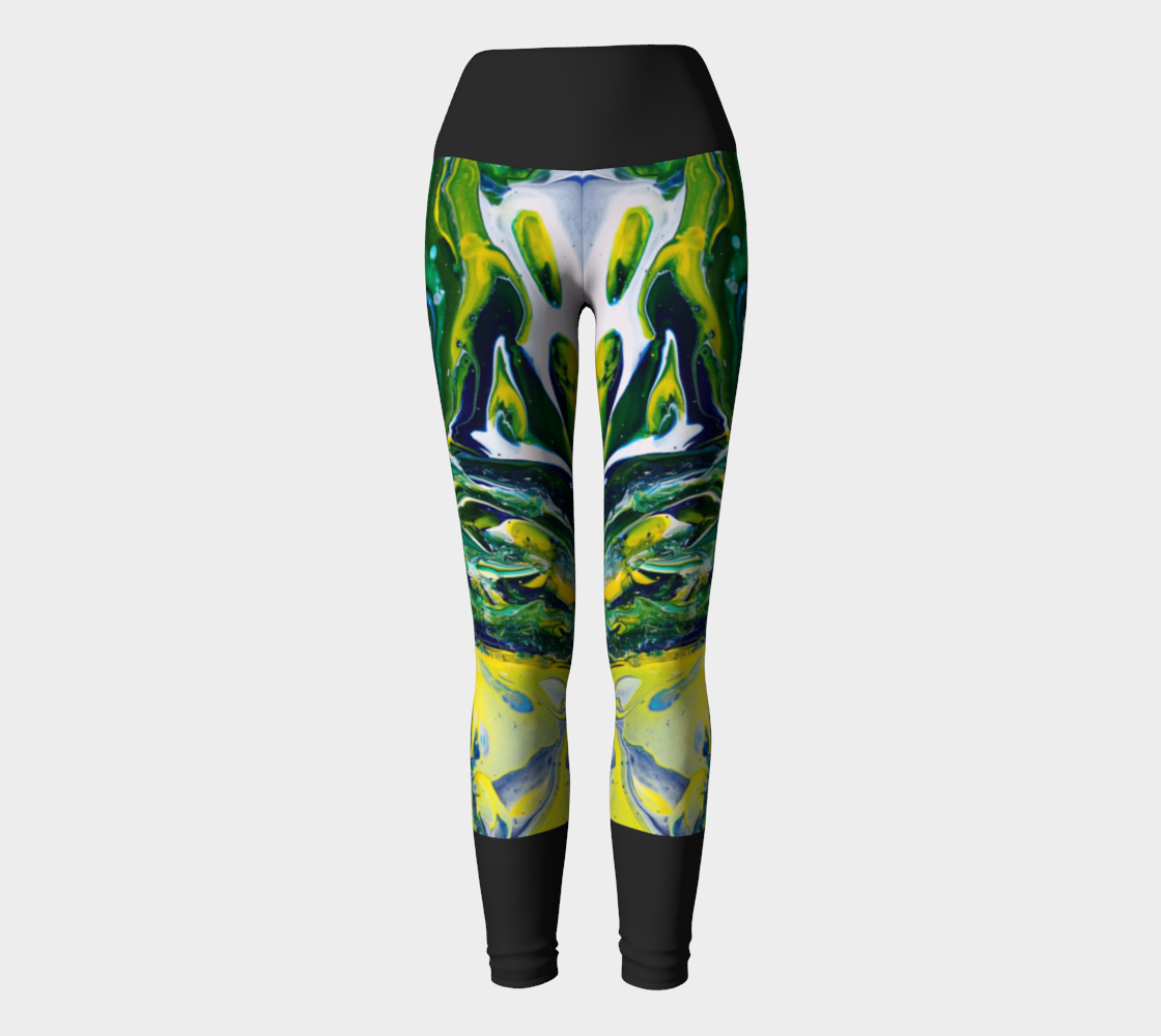 Yoga Leggings - Blue-Yellow-Black 3