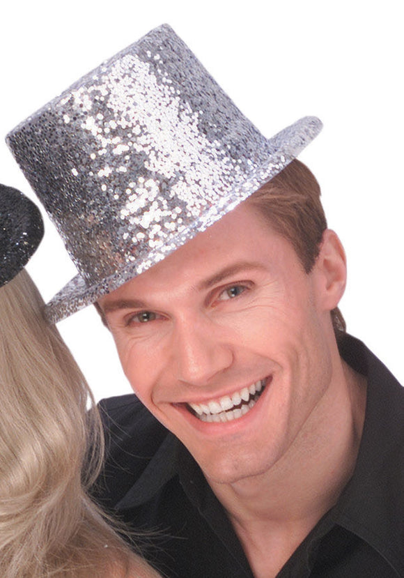 Silver Glitter Top Hat for Adults