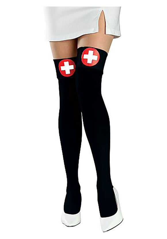 Black Nurse Thigh High Stockings