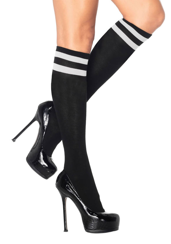 Women's Black w/ White Striped Athletic Socks