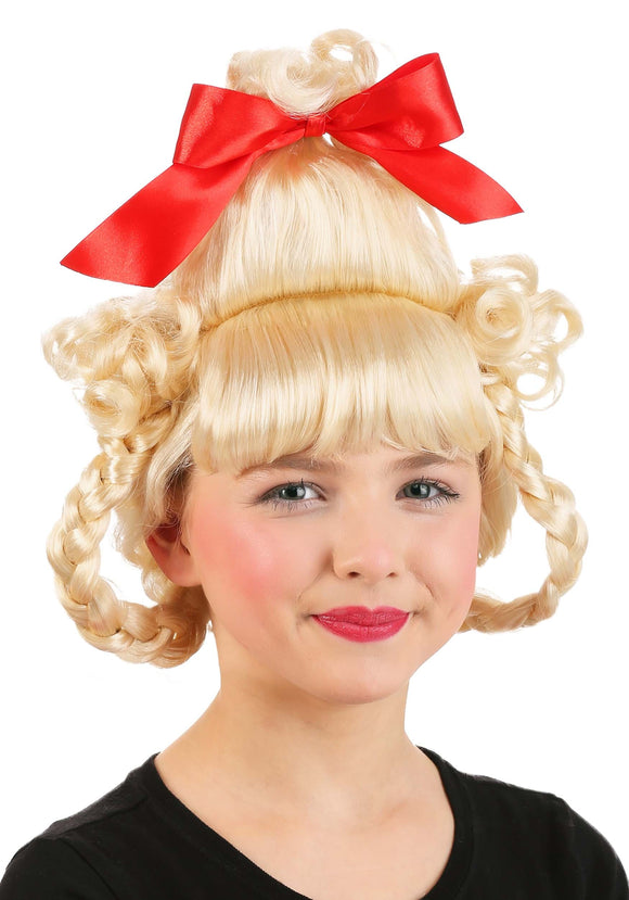 Christmas Girl Wig Red Bow