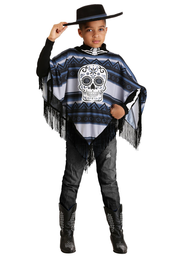 Day of the Dead Poncho Costume for Boys