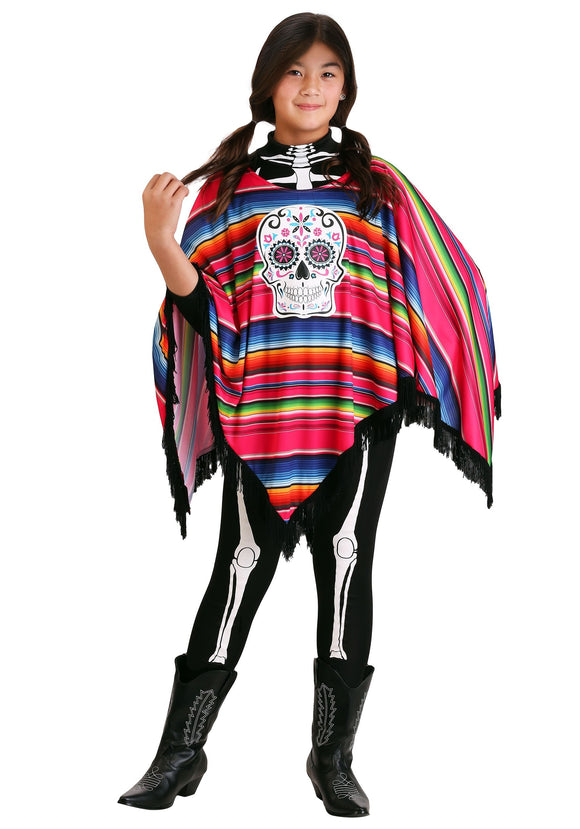 Day of the Dead Girl's Poncho Costume