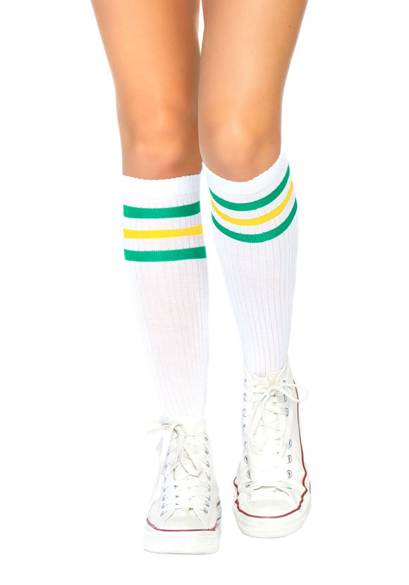 Women's Green & Yellow Striped Athletic Socks