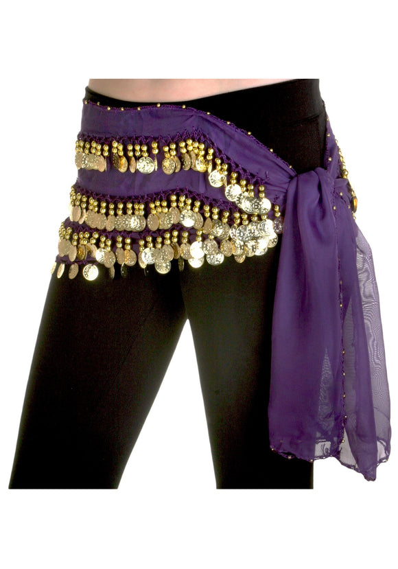 Purple Hip Scarf Belly Dance Costume