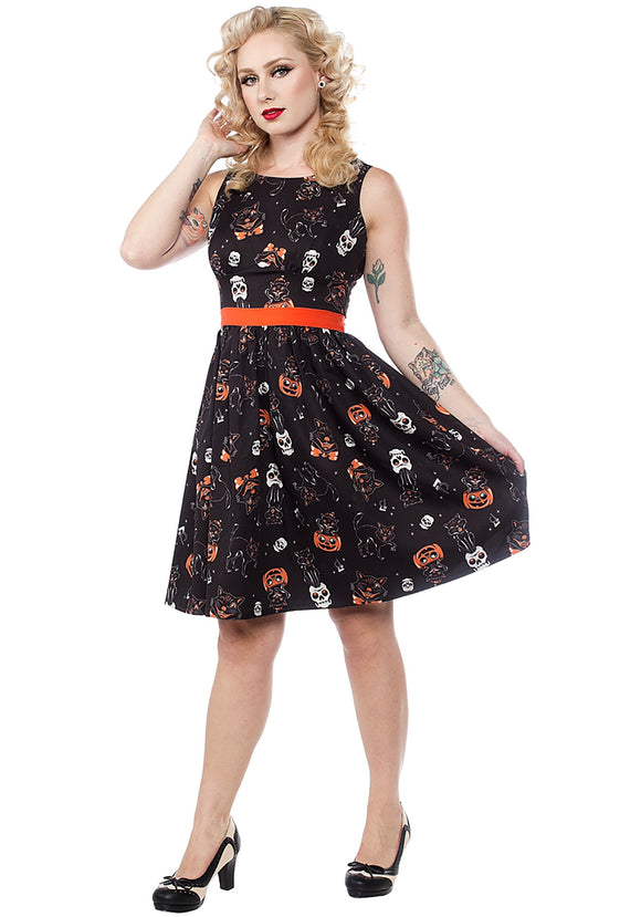 Sourpuss Black Cats Halloween Women's Shift Dress