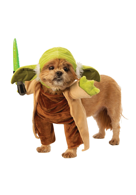 Walking Yoda with Lightsaber Dog Star Wars Costume