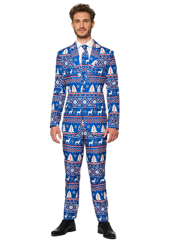 Blue Nordic Christmas Men's Suitmeister Suit