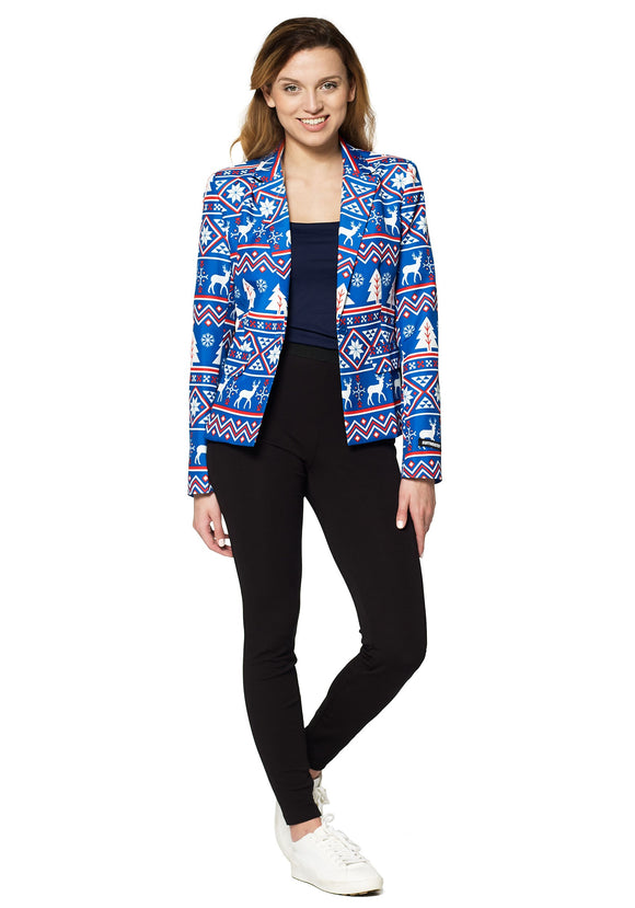Suitmeister Christmas Blue Nordic Blazer for Women