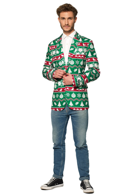 Christmas Green Nordic Men's Blazer Suitmeister