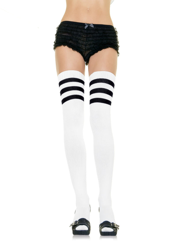 Women's White Athletic Socks with Black Stripes