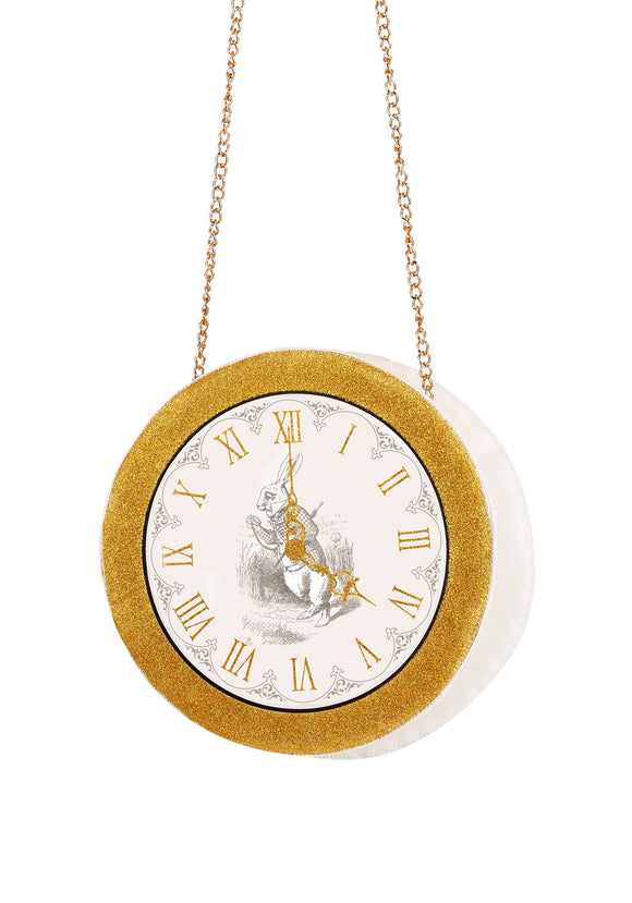 Women's White Rabbit Clock Purse