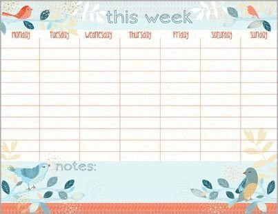 Aztec Birds Weekly Calendar Pad with Attachable Magnet