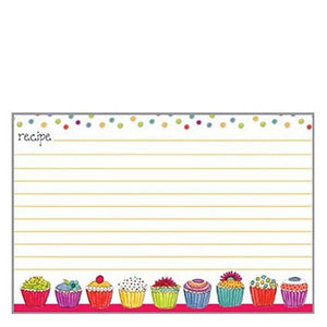 20 lined Recipe Cards by Gina B. Designs - Colorful Cupcakes