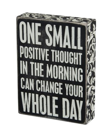 Box Sign, 6 by 8-Inch Wood, Positive Thought