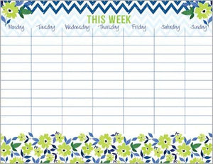 Green Flowers & Chevron Weekly Calendar Pad, with Attachable Magnet