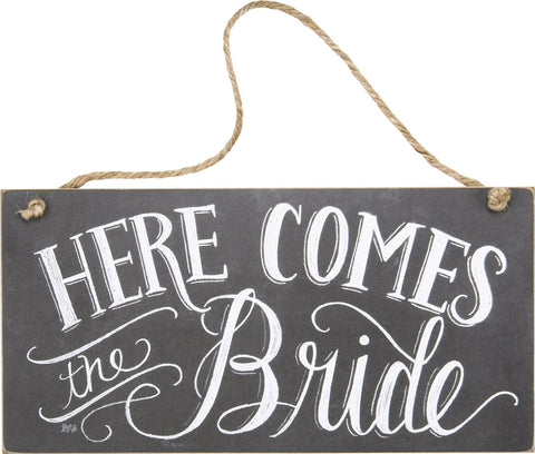 "Primitives By Kathy 12"" X 6"" Wooden Chalk Sign Here Comes the Bride"