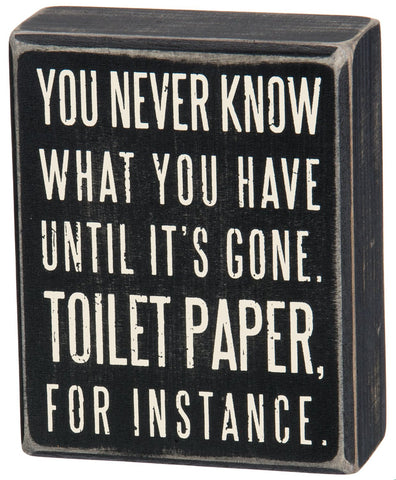 Box Sign, 4-Inch by 5-Inch, Toilet Paper funny sign