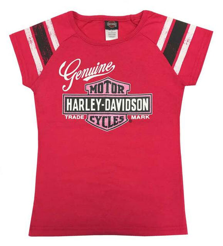 Harley-Davidson® Little Girls' Glitter Genuine Legend B&S Short Sleeve Tee