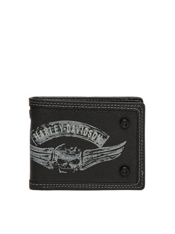 Harley-Davidson® Men's Winged Skull Bi-Fold Wallet