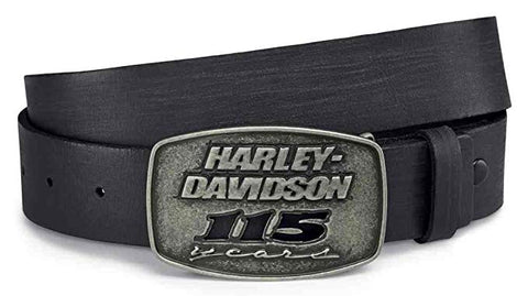 Harley-Davidson® Mens 115th Anniversary Black Label Black Leather Belt