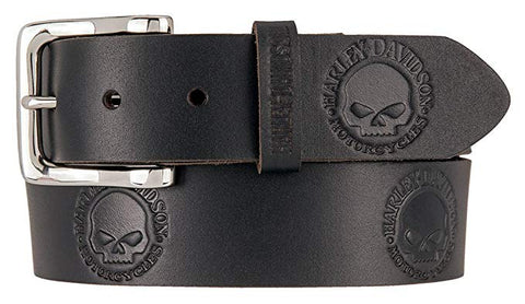 Harley-Davidson® Mens Willie's World Skull Black Leather Belt