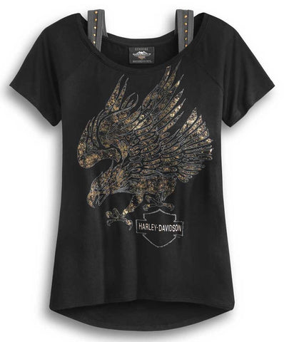 Harley-Davidson® Women's Metallic Eagle Logo Short Sleeve Tee