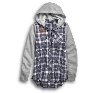 Harley Davidson® Womens Knit Sleeve & Hood Flannel Shirt