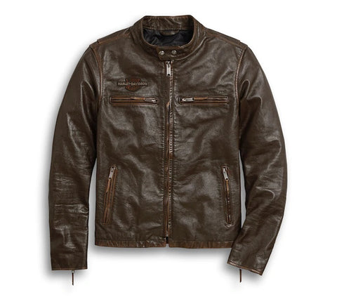 Harley-Davidson Men's Distressed Print Leather Jacket
