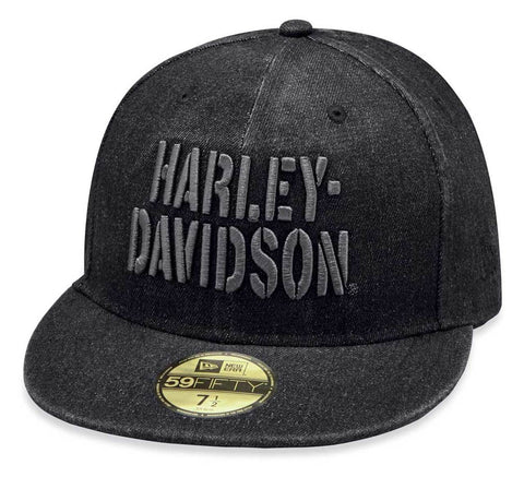 Harley-Davidson® Men's Stencil H-D 59FIFTY Baseball Cap - Black