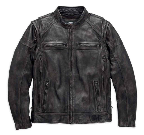 Harley-Davidson® Mens Dauntless Convertible Leather Jacket, Distressed