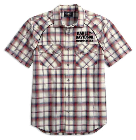 Harley-Davidson® Men's Upright Eagle Short Sleeve Plaid Woven Shirt