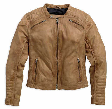 Harley-Davidson® Womens Buff Washed Perforated Leather Jacket