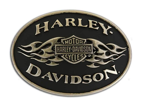 Harley-Davidson® Mens Belt Buckle black Flame Brushed Chrome