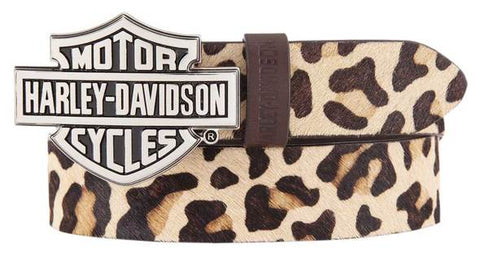 Harley-Davidson® Women's Wild Night Out Leopard Print Leather Belt