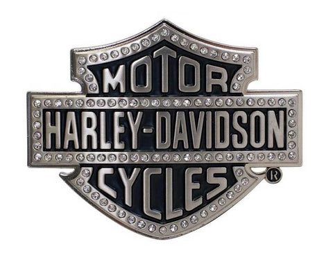 Harley-Davidson® Women's Belt Buckle Lineage Bling Bar & Shield Silver