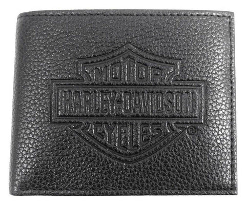 Harley-Davidson® Mens B&S Embossed Pocketed Billfold Leather Wallet
