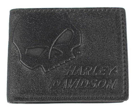 Harley-Davidson® Men's Skull Graphite Leather Billfold w/ Flip Out