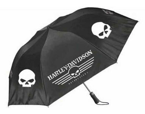 Harley-Davidson® Linear Skull 44in. Retractable Umbrella, Black & White