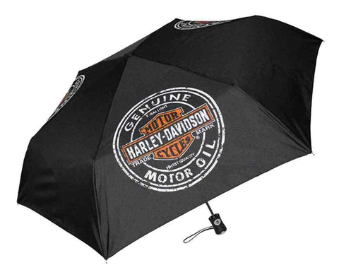 Harley-Davidson® Motor Oil Bar & Shield Mini Retractable Umbrella Black