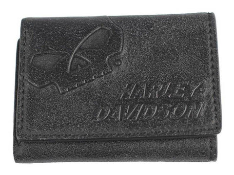 Harley-Davidson® Men's Skull Graphite Leather Tri-Fold Wallet